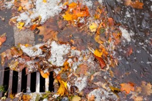 Clogged sewer blocks rainwater runoff